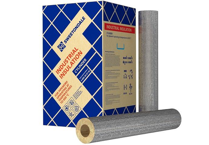 Цилиндр 80 с фольгой трубный утеплитель длина 1 м, т. стенки 20 мм, внутр. Ø 18 мм
